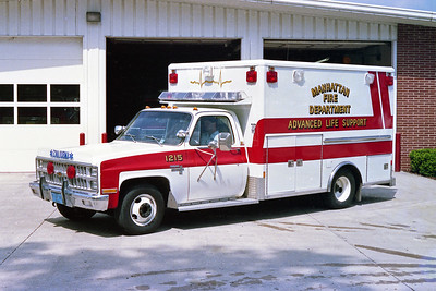 MANHATTAN FPD  AMBULANCE 1215  1982  CHEVY SILVERADO - WHEELED COACH   CHASSIS USED TO MAKE BRUSH 1295