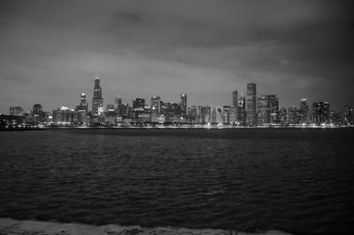 CHICAGO SKYLINE WINTER NIGHT B&W