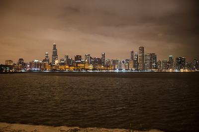 CHICAGO SKYLINE WINTER NIGHT