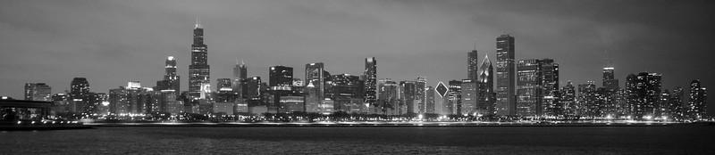 CHICAGO WINTER NIGHT SKYLINE PANORAMA B&W