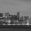 CHICAGO WINTER NIGHT SKYLINE PANORAMA B&W