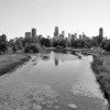 LONG SHOT OF CHICAGO FROM LINCOLN PARK B&W