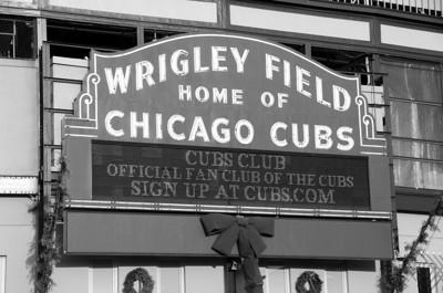 WRIGLEY FIELD SIGN B&W