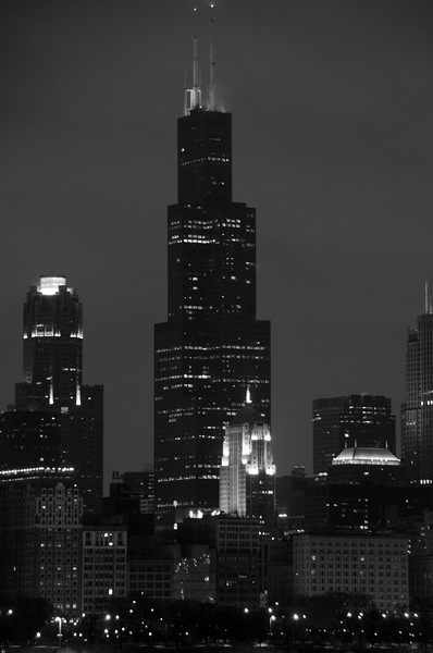 SEARS TOWER NIGHT SKYLINE B&W