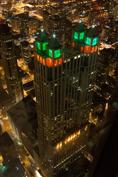 ANOTHER SHOT OF 900 MICHIGAN AVE AT CHRISTMAS FROM THE HONCOCK TOWER
