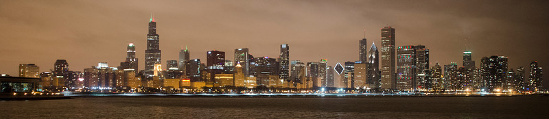 CHICAGO WINTER NIGHT SKYLINE PANORAMA