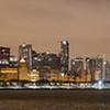 CHICAGO WINTER NIGHT SKYLINE PANORAMA