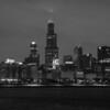 MEDIUM NIGHT SHOT OF CHICAGO SKYLINE WINTER B&W
