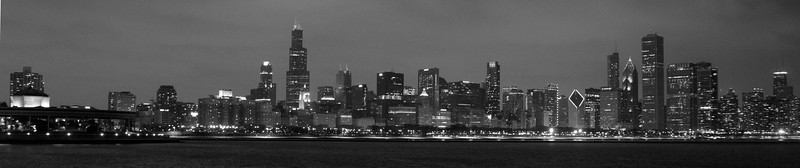 CHICAGO NIGHT B&W PANORAMA
