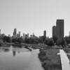 LINCOLN PARK POND AND CHICAGO B&W