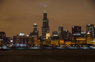 MEDIUM NIGHT SHOT OF CHICAGO SKYLINE WINTER
