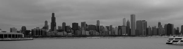 CHICAGO WINTER SKYLINE B&W