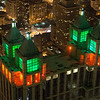 RED AND GREEN BUILDING AT NIGHT