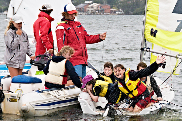 Children having fun sailing.