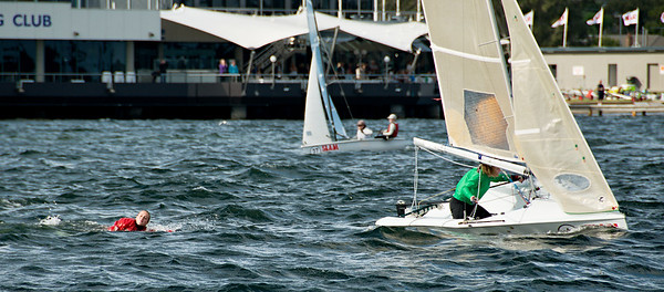 Girl overboard from racing dinghy. April 16, 2013: Editorial.