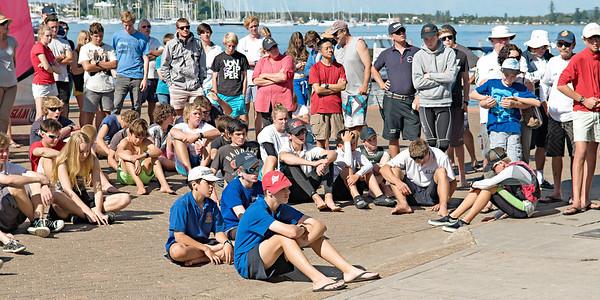 Children preparing racing dinghies at championships. April 18,