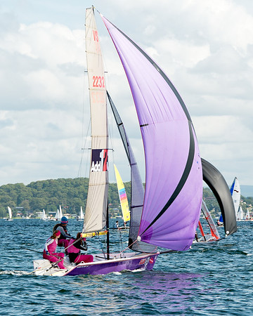 Children sailing racing dinghies at championships. April 17, 2013: Editorial