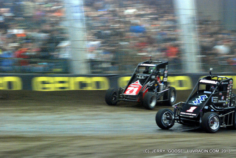 Larson and Sammy Swindell off turn two