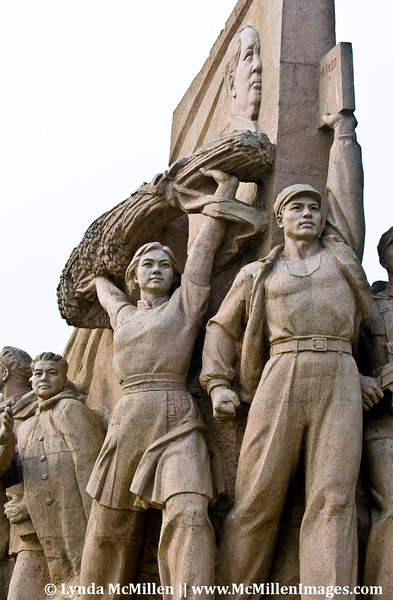 A monument to The People in front of Mao's Mausoleum, Tiananmen Square.