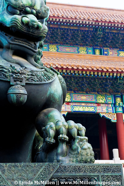 Ming Dynasty Guardian Lion (female) in Forbidden City.