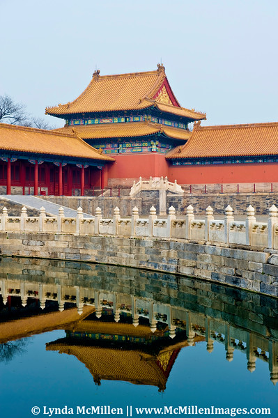 Reflections of  Forbidden City's corner tower.