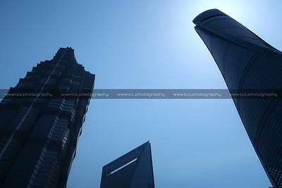 Jin Mao Tower, Shanghai World Financial Center and Shanghai Tower, Lujiazui CBD, Pudong, Shanghai, China