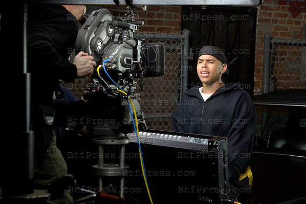 "Exclusive, Santa Monica October 27,2005. Chris Brown during the set of the music song "" EXCUSE ME MISS """