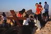 Jeunes chrétiens rassemblés sur les hauteurs de Maaloula. Syrie
