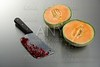 Melon fruit killed by a knife