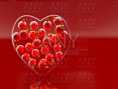 Christmas baubles heart shape in red and gold
