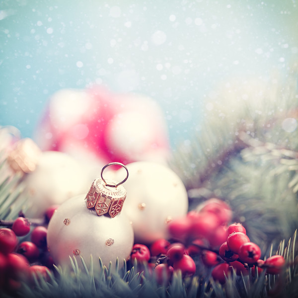 Abstract Christmas backgrounds with holiday decorations and red berries