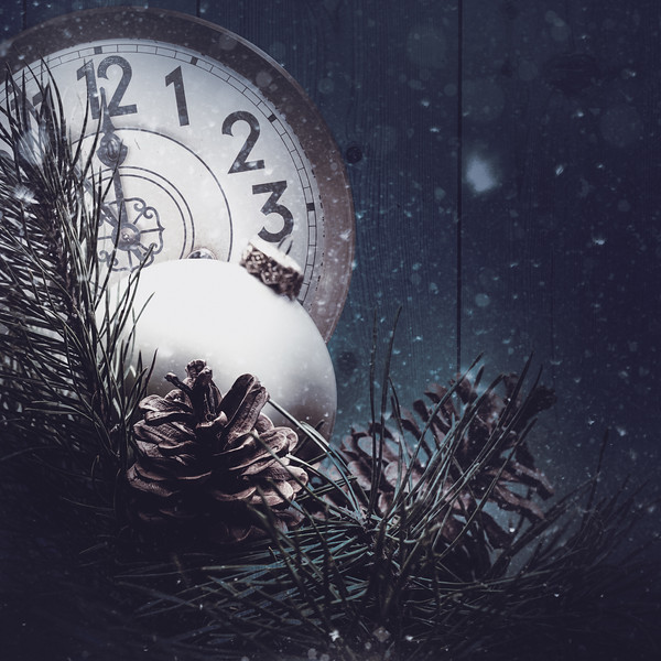 Abstract xmas backgrounds with vintage watches and christmas decorations