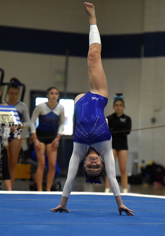 . THORNTON, CO - NOVEMBER 1, 2018: Broomfield High School\'s Natalie Orsborn competes in the floor exercise during the CHSAA 5A gymnastics championships on Thursday at Thornton High School. More photos: BoCoPreps.com (Jeremy Papasso/Staff Photographer)