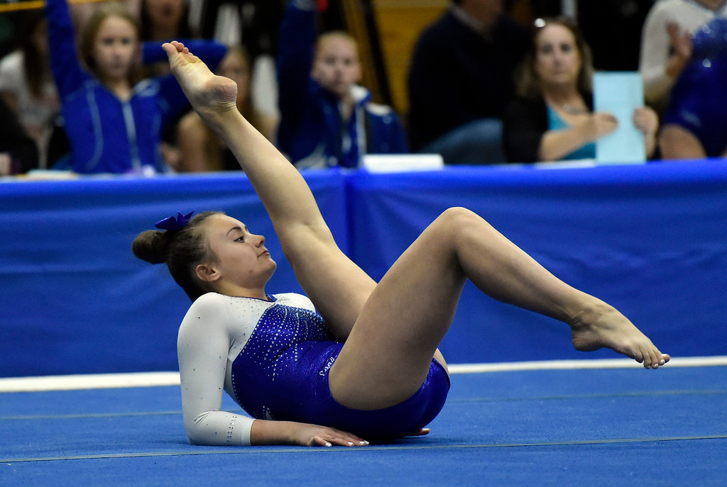 . THORNTON, CO - NOVEMBER 1, 2018: Broomfield High School\'s Alli Willmarth competes in the floor exercise during the CHSAA 5A gymnastics championships on Thursday at Thornton High School. More photos: BoCoPreps.com (Jeremy Papasso/Staff Photographer)