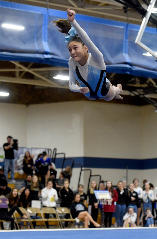 . THORNTON, CO - NOVEMBER 1, 2018: Mountain Range High School\'s Jenna Bossi competes in the floor exercise during the CHSAA 5A gymnastics championships on Thursday at Thornton High School. More photos: BoCoPreps.com (Jeremy Papasso/Staff Photographer)