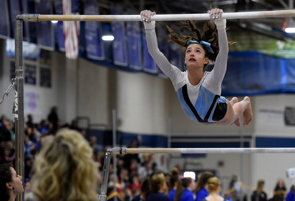. THORNTON, CO - NOVEMBER 1, 2018: Mountain Range High School\'s Jenna Bossi competes in the uneven bars during the CHSAA 5A gymnastics championships on Thursday at Thornton High School. More photos: BoCoPreps.com (Jeremy Papasso/Staff Photographer)