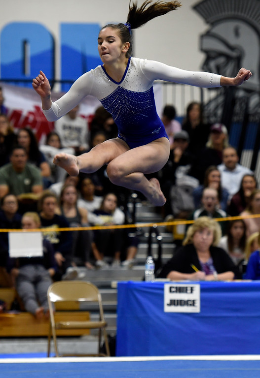 . THORNTON, CO - NOVEMBER 1, 2018: Broomfield High School\'s Darcy Jew competes in the floor exercise during the CHSAA 5A gymnastics championships on Thursday at Thornton High School. More photos: BoCoPreps.com (Jeremy Papasso/Staff Photographer)