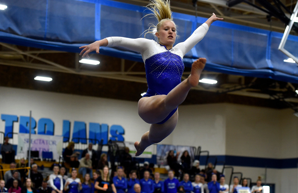 . THORNTON, CO - NOVEMBER 1, 2018: Broomfield High School\'s Melanie Roberts competes in the floor exercise during the CHSAA 5A gymnastics championships on Thursday at Thornton High School. More photos: BoCoPreps.com (Jeremy Papasso/Staff Photographer)