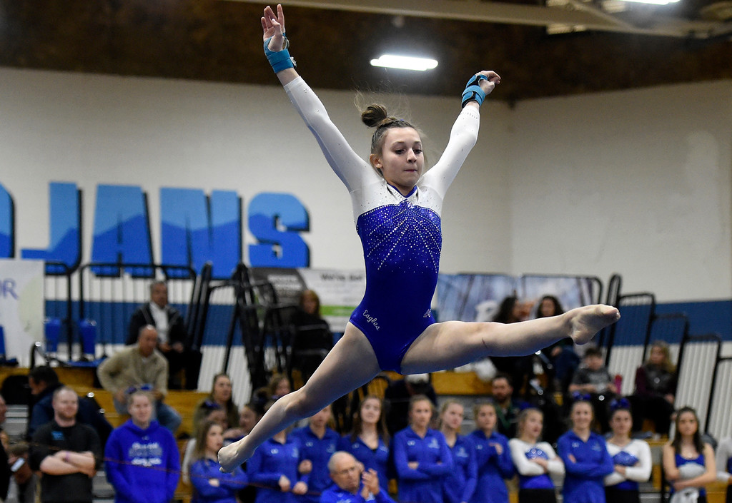 . THORNTON, CO - NOVEMBER 1, 2018: Broomfield High School\'s Kate Bogoger competes in the floor exercise during the CHSAA 5A gymnastics championships on Thursday at Thornton High School. More photos: BoCoPreps.com (Jeremy Papasso/Staff Photographer)