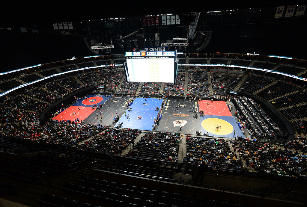 . DENVER, CO - FEBRUARY 21, 2019: The first day of the CHSAA State Wrestling Championships on Thursday at the Pepsi Center in Denver. More photos: BoCoPreps.com (Photo by Jeremy Papasso/Staff Photographer)