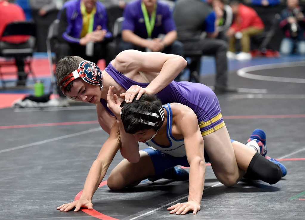 . DENVER, CO - FEBRUARY 21, 2019: Boulder High School\'s Joey Airola wrestles Tony Garcia Lopez, of Poudre, during a 5A 106-pound match during the first day of the CHSAA State Wrestling Championships on Thursday at the Pepsi Center in Denver. More photos: BoCoPreps.com (Photo by Jeremy Papasso/Staff Photographer)