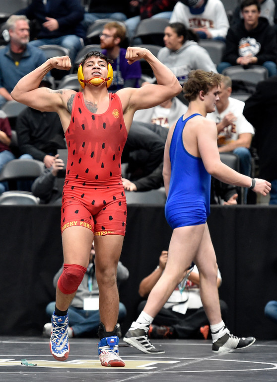 . DENVER, CO - FEBRUARY 22, 2019: Rocky Ford High School\'s Jesse Tapia celebrates after defeating Lyons High School\'s Karson Bean during a 2A 195-pound semifinal match on the second day of the CHSAA State Wrestling Championships on Friday at the Pepsi Center in Denver. More photos: BoCoPreps.com (Photo by Jeremy Papasso/Staff Photographer)