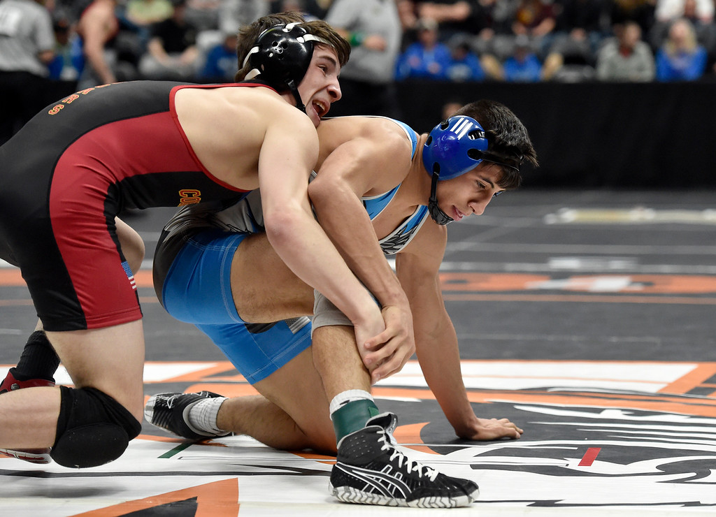 . DENVER, CO - FEBRUARY 22, 2019: Broomfield High School\'s Darren Green wrestles Coronado\'s Ben Nagel during a 4A 138-pound semifinal match on the second day of the CHSAA State Wrestling Championships on Friday at the Pepsi Center in Denver. More photos: BoCoPreps.com (Photo by Jeremy Papasso/Staff Photographer)