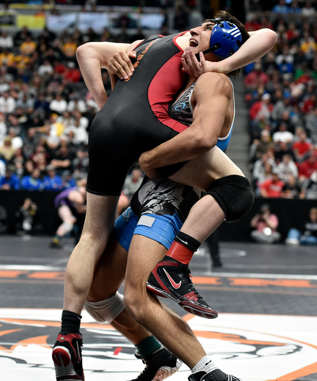. DENVER, CO - FEBRUARY 22, 2019: Broomfield High School\'s Darren Green works to takedown Coronado\'s Ben Nagel during a 4A 138-pound semifinal match on the second day of the CHSAA State Wrestling Championships on Friday at the Pepsi Center in Denver. More photos: BoCoPreps.com (Photo by Jeremy Papasso/Staff Photographer)