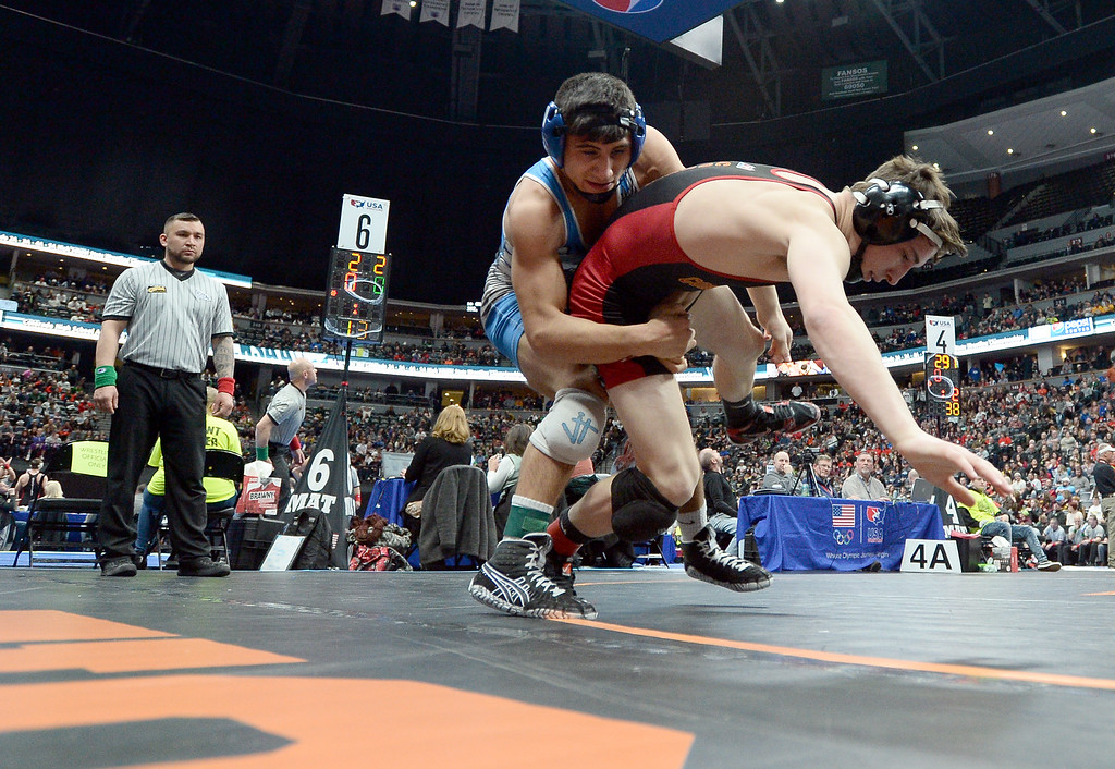 . DENVER, CO - FEBRUARY 22, 2019: Broomfield High School\'s Darren Green takes down Coronado\'s Ben Nagel during a 4A 138-pound semifinal match on the second day of the CHSAA State Wrestling Championships on Friday at the Pepsi Center in Denver. More photos: BoCoPreps.com (Photo by Jeremy Papasso/Staff Photographer)