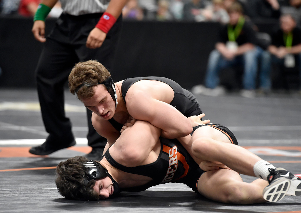 . DENVER, CO - FEBRUARY 22, 2019: Longmont High School\'s Drake Engelking wrestles Lewis-Palmer\'s Jake Martin during a 4A 170-pound semifinal match on the second day of the CHSAA State Wrestling Championships on Friday at the Pepsi Center in Denver. More photos: BoCoPreps.com (Photo by Jeremy Papasso/Staff Photographer)