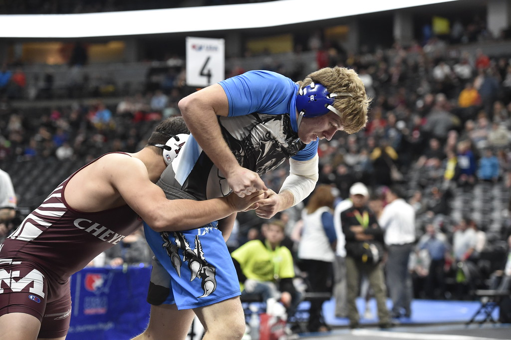 . DENVER, CO - FEBRUARY 22, 2019: High School\'s during a -pound semifinal match on the second day of the CHSAA State Wrestling Championships on Friday at the Pepsi Center in Denver. More photos: BoCoPreps.com (Photo by Jeremy Papasso/Staff Photographer)