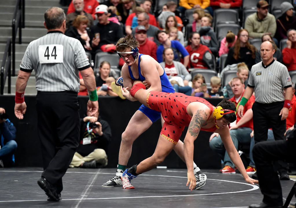 . DENVER, CO - FEBRUARY 22, 2019: Lyons High School\'s Karson Bean works to take down Rocky Ford\'s Jesse Tapia during a 2A 195-pound semifinal match on the second day of the CHSAA State Wrestling Championships on Friday at the Pepsi Center in Denver. More photos: BoCoPreps.com (Photo by Jeremy Papasso/Staff Photographer)