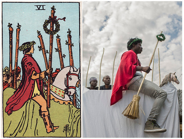 The Six of Wands depicts a man wearing a victory wreath around his head, riding a white horse through a crowd of cheering people. The white horse represents strength, purity, and the success of an adventure, and the crowd of people demonstrates public recognition for the man's achievements. The wand held by the rider also has a wreath tied to it, further emphasising success and achievement. He is not afraid to show off to others what he has accomplished in his life so far, and even better, the people around him cheer him along.