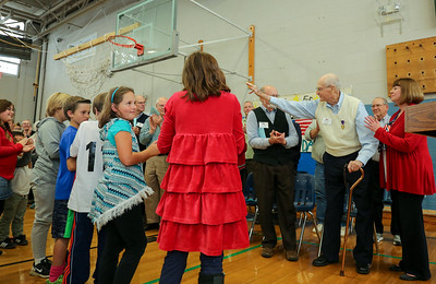 CIS gives a standing ovation to World War II veteran and purple heart winner Clifton Caldon.  Photo by John Fitts